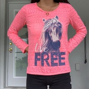 Geometric graphic horse long sleeve